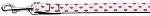 White and Red Dotty Hearts Nylon Dog Leash 4 Foot Leash
